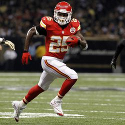 Kansas City Chiefs running back Jamaal Charles (25) rushes in the first half of an NFL football game against the New Orleans Saints in New Orleans, Sunday, Sept. 23, 2012. The Chiefs won 27-24 in overtime.