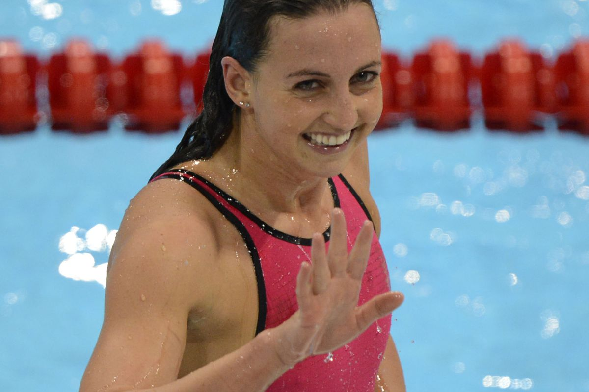 Rebecca Soni was all smiles after setting a new world record in the 200m breaststroke at the London Olympics.