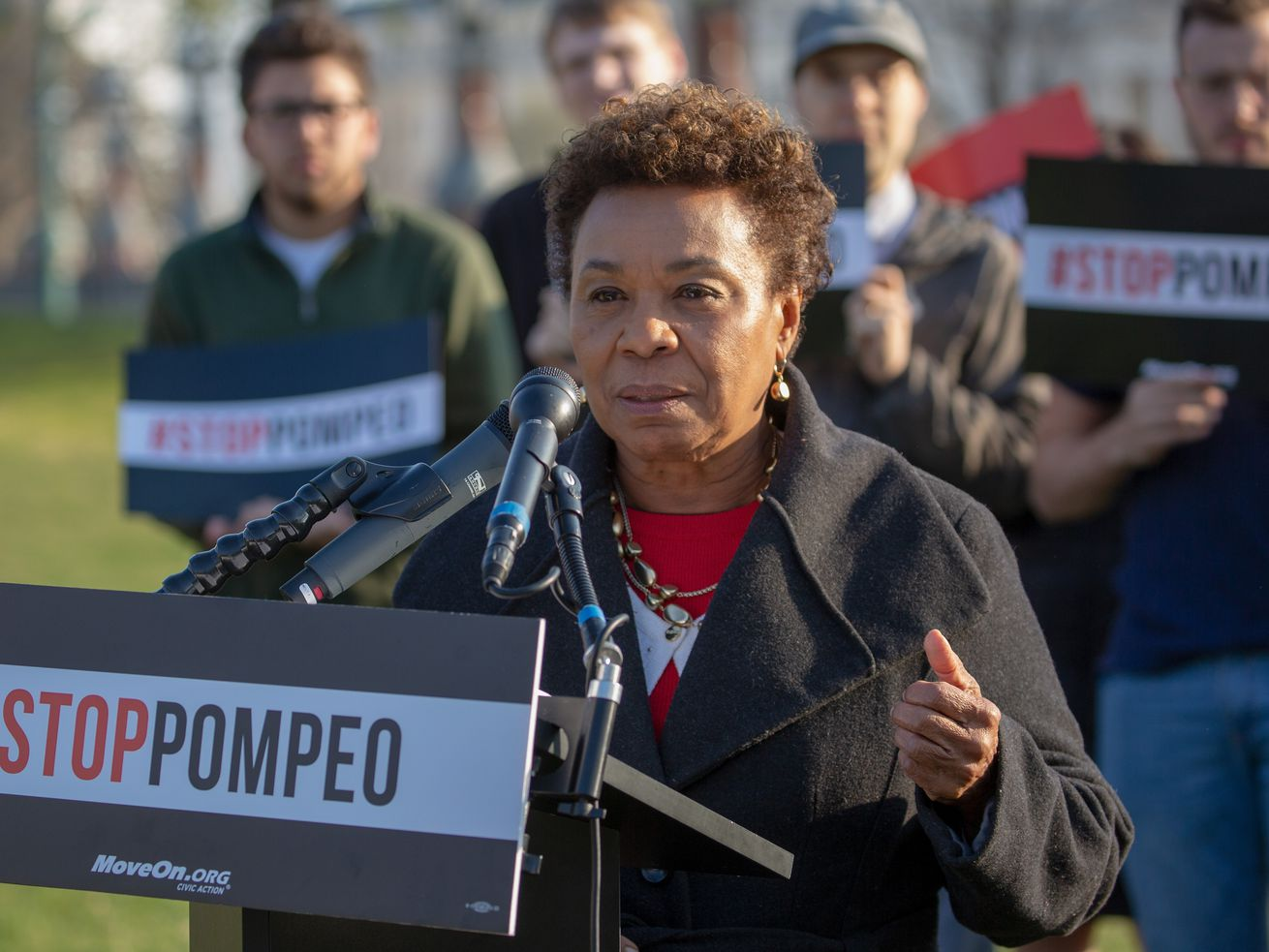 Rep Barbara Lee (D-CA) speaks at a rally with MoveOn members and allies gather with leading senators to demand that the Senate vote to reject Mike Pompeo's nomination.
