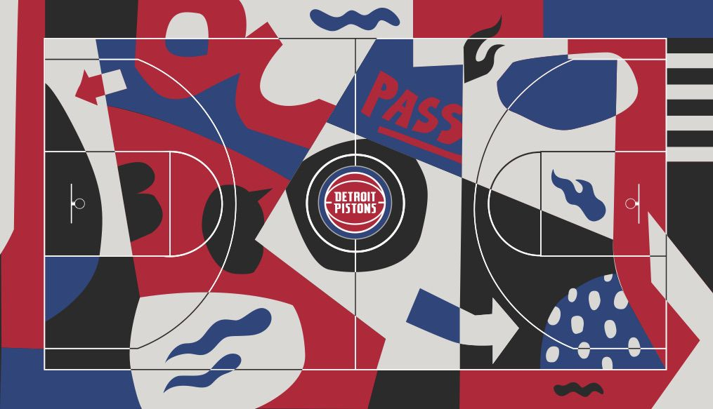 A vibrant red, white, blue, and black court with asymmetrical shapes and images like arrows, basketballs on fire, and the Pistons logo in the middle
