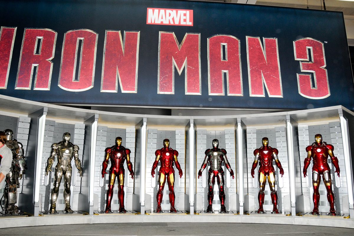 SAN DIEGO, CA - JULY 11: Display of Iron Man armor at the Marvel booth at the 2012 Comic-Con International Preview Night held at San Diego Convention Center on July 11, 2012 in San Diego, California.