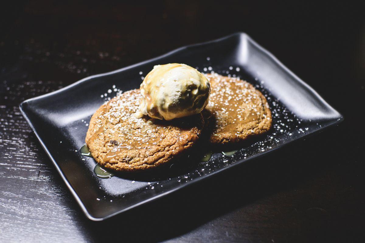 Alamo Drafthouse chocolate chip cookies with ice cream