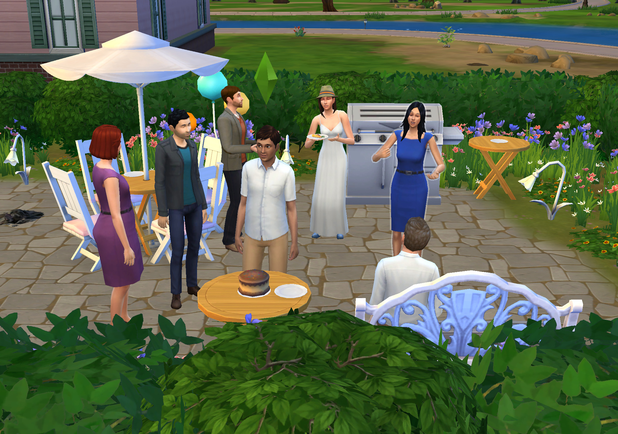 I threw my boyfriend a birthday party on The Sims because we can't have one in real life