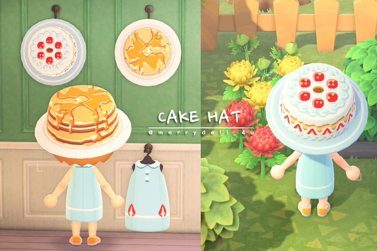 """two food-related hats in Animal Crossing: New Horizons, with the words """"CAKE HAT"""" above a horizontal line and """"@merrydeli_4u"""" below it"""