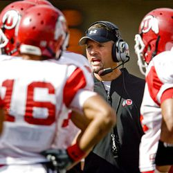 Head coach Kyle Whittingham has words with the offense at the final Ute preseason scrimmage at Rice-Eccles Stadium in Salt Lake City Saturday.