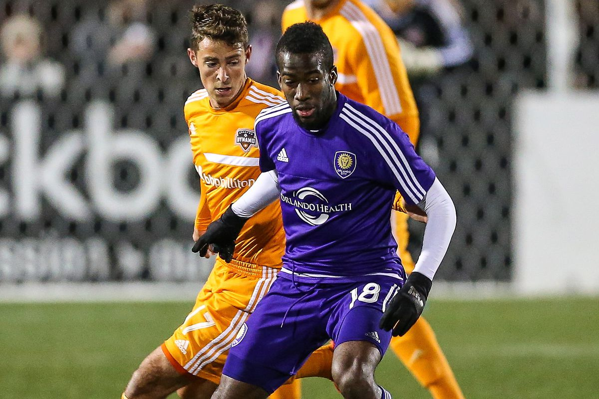 OCSC midfielder Kevin Molino (#18) in action against the Houston Dynamo last weekend.