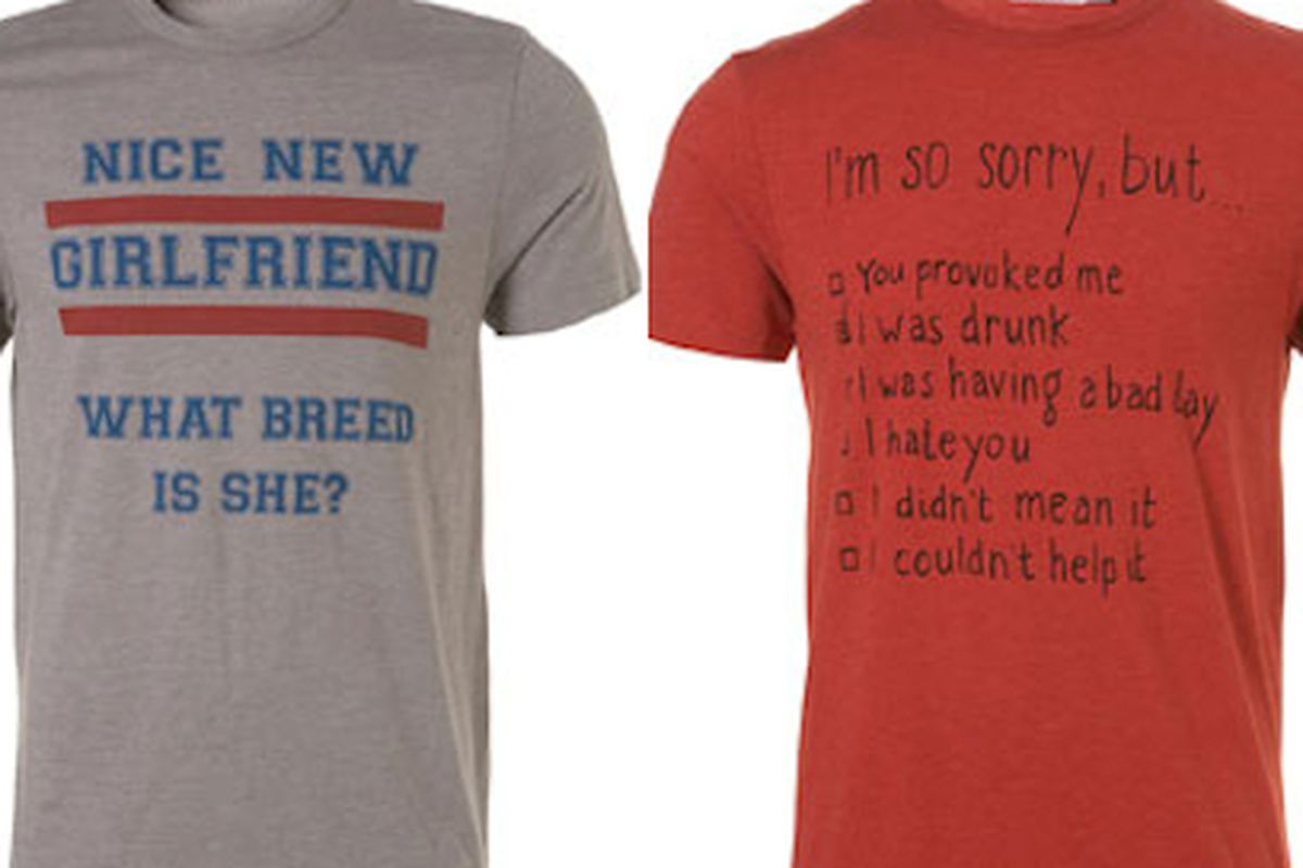 """Perfect complements to the """"I'm with Stupid"""" tee. Image via <a href=""""http://www.guardian.co.uk/fashion/fashion-blog/2011/sep/14/topman-sexist-t-shirts"""">Guardian</a>"""
