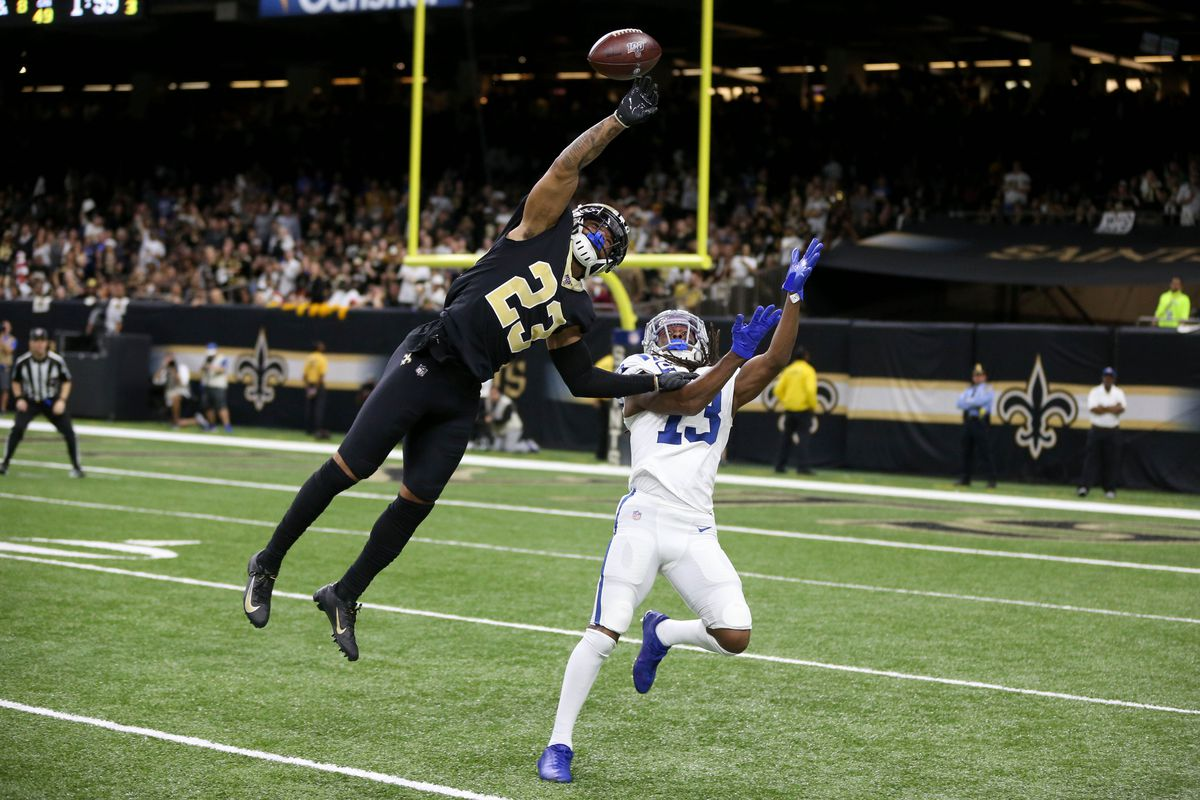 New Orleans Saints cornerback Marshon Lattimore defends a pass intended for Indianapolis Colts wide receiver T.Y. Hilton in the fourth quarter at the Mercedes-Benz Superdome.