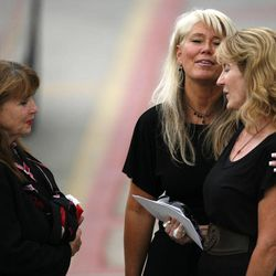 Friends and family gather after the funeral for Stephen Covey at the UCCU Center at Utah Valley University in Orem on Saturday, July  21, 2012.