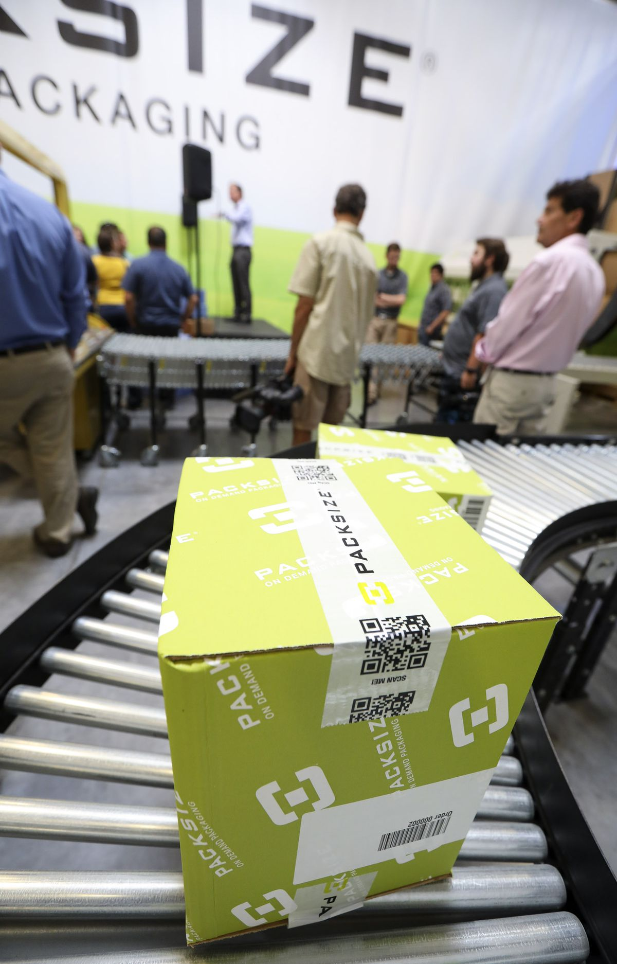 Representatives from the U.S. Department of Energy and Utah Clean Cities tour Packsize in Salt Lake City on Wednesday, Aug. 21, 2019, to learn how the company's right-size, on-demand packaging systems are upping the sustainability game, especially in a retail world that is increasingly delivery-based.