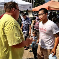 Shepherd and Yu discuss pig heads