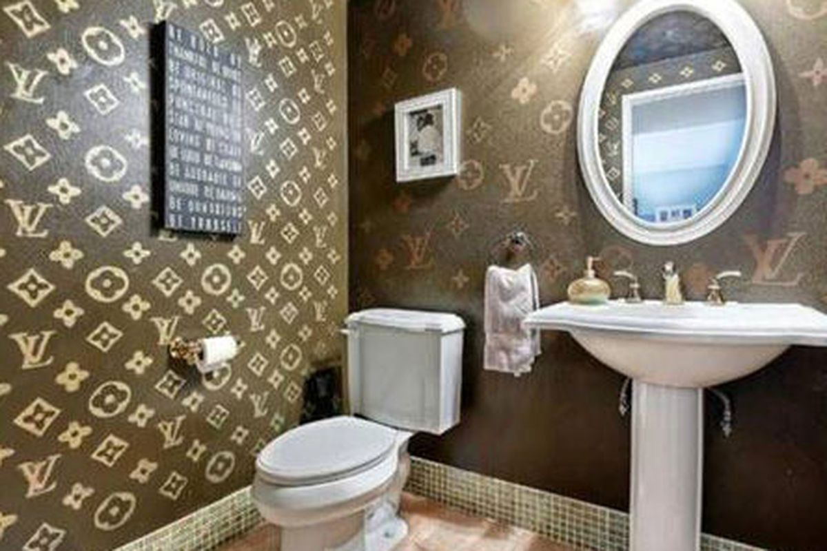 This louis vuitton themed bathroom exists racked for Bathroom ideas reddit