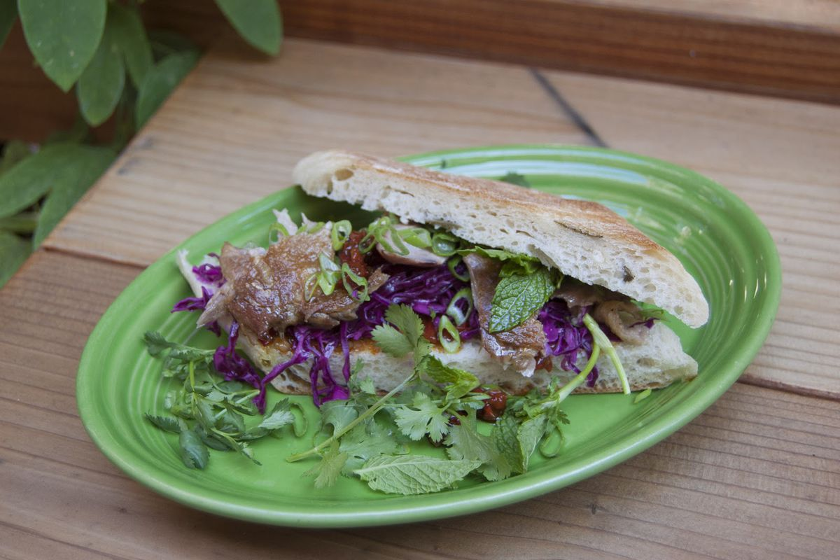 The duck sandwich at the Lede