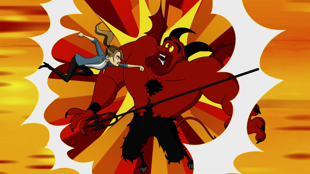 """Cartoon Chloe punches out a startled-looking giant cartoon demon in the Lucifer episode """"Yabba Dabba Do Me"""""""