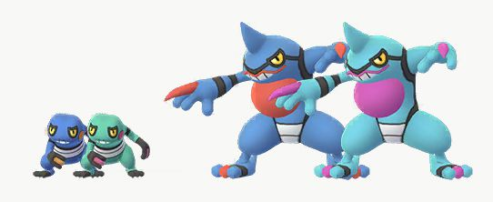 Shiny and regular Croagunk and Toxicroak