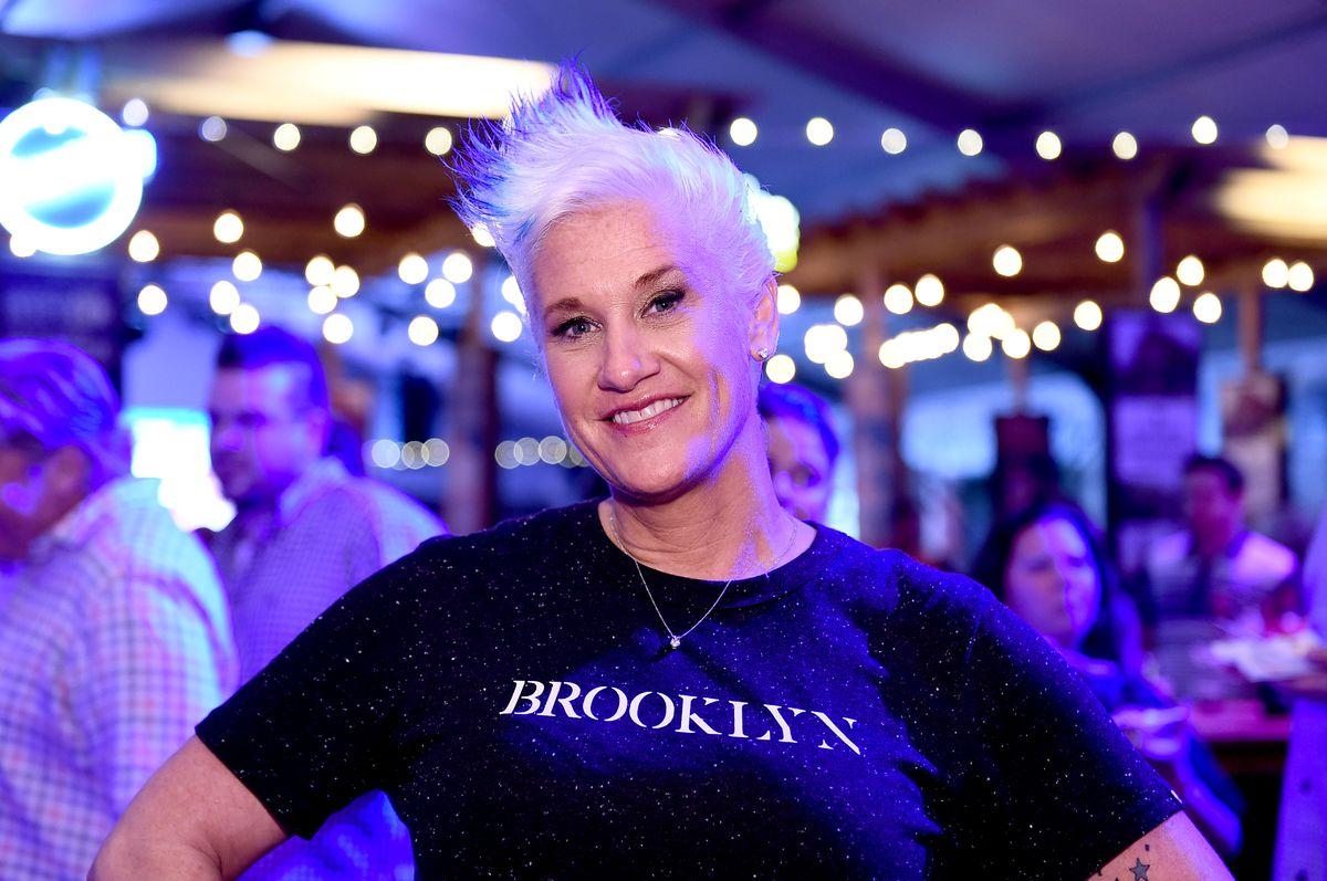 "Chef Anne Burrell wearing a black ""Brooklyn"" t-shirt."