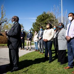 The Rev. France Davis, a member of Salt Lake City's Commission on Racial Equity in Policing, speaks during a press conference at the International Peace Gardens in Salt Lake City on Tuesday, April 20, 2021. The group gathered to share their reaction to the guilty verdicts returned in the trial of former police officer Derek Chauvin in Minneapolis.