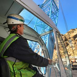 Kevin Peterson runs a crane at the Bronco Utah Mine near Emery on Wednesday, March 29, 2017.