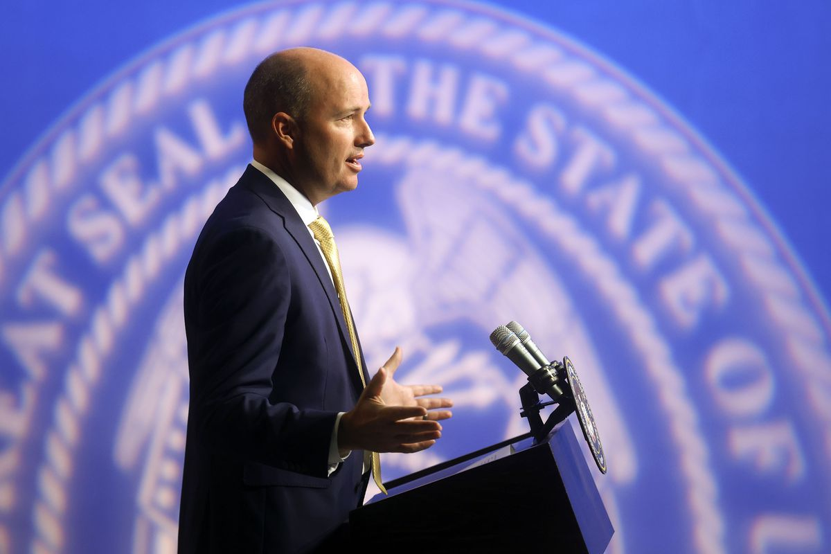 Gov. Spencer Cox speaks at the PBS Utah Governor's Monthly News Conference at the Eccles Broadcast Center in Salt Lake City.