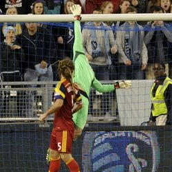 Real Salt Lake Goalkeeper Jeff Attinella makes a save during a game at Sporting Park in Kansas City, Kan., on Saturday, April 5, 2014.