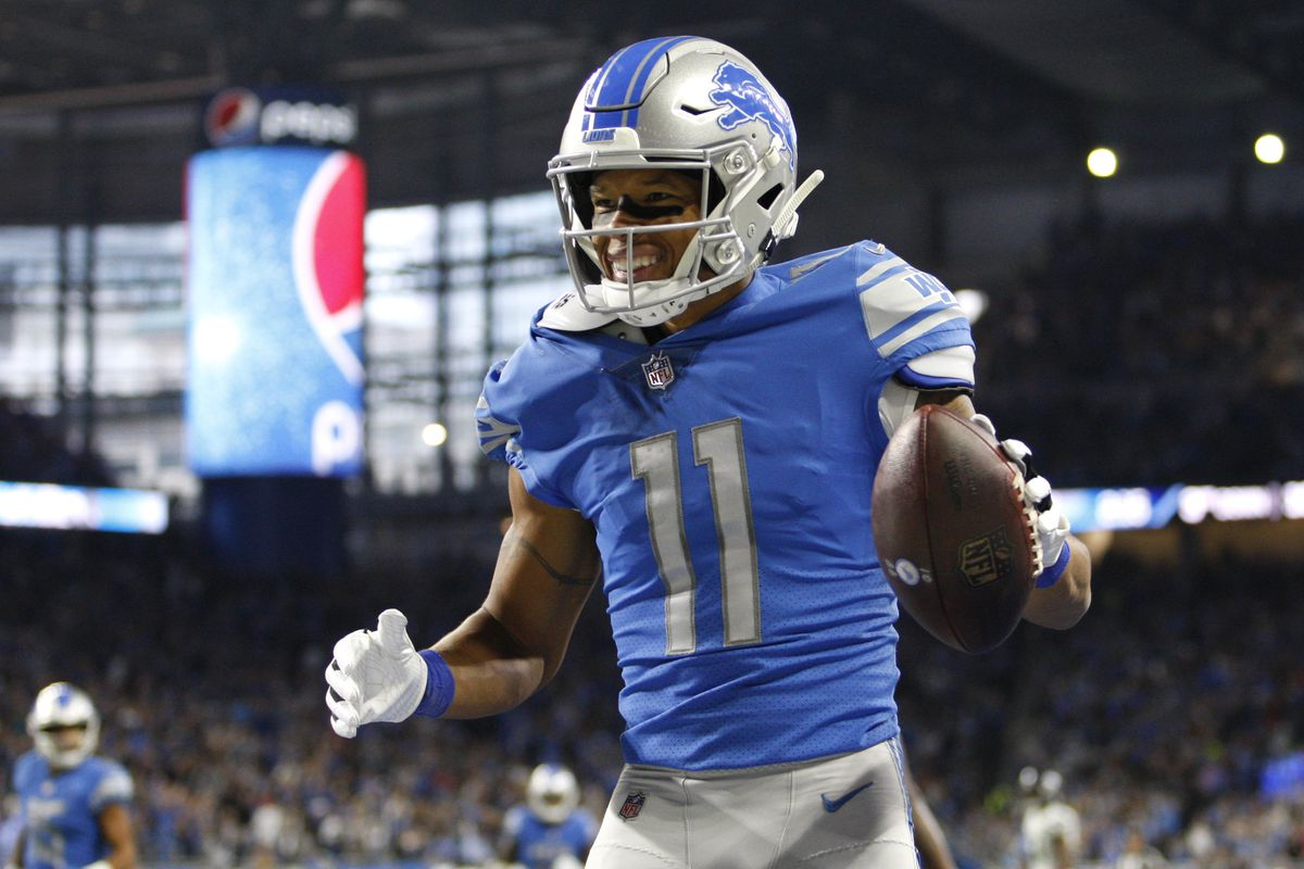Detroit Lions wide receiver Marvin Jones celebrates after scoring a touchdown during the first quarter against the Seattle Seahawks at Ford Field.