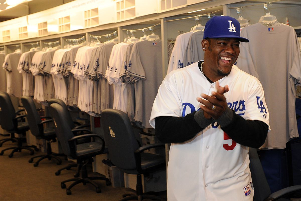 """""""Three years and $7 million sounds great. Where do I sign? What's that? Seven million <em>per season</em>? Excuse me for a moment."""" (<em>Photo credit: Jon SooHoo / LA Dodgers</em>)"""
