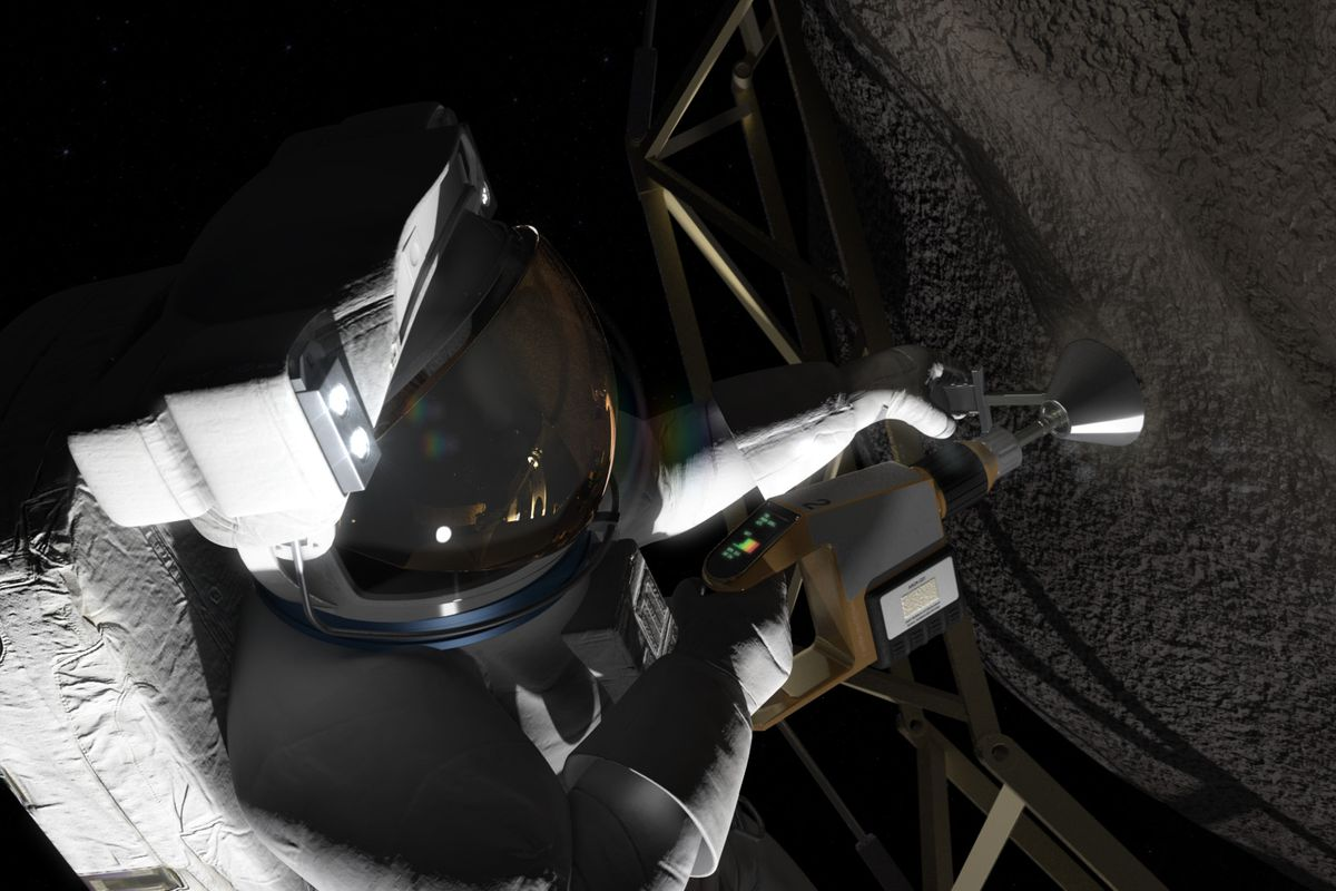 A rendering of an astronaut taking a sample from a boulder, plucked off an asteroid by an uncrewed probe.