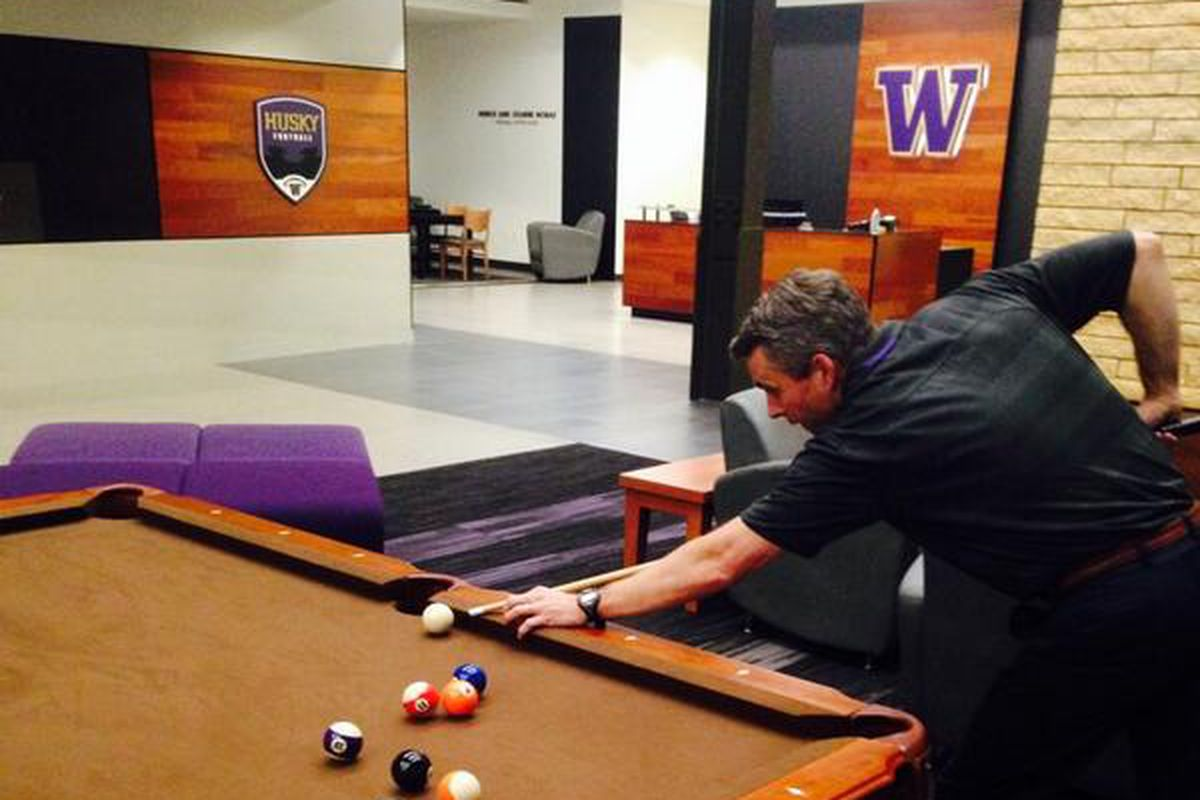 Coach Pete playing a little pool on a big recruiting weekend.