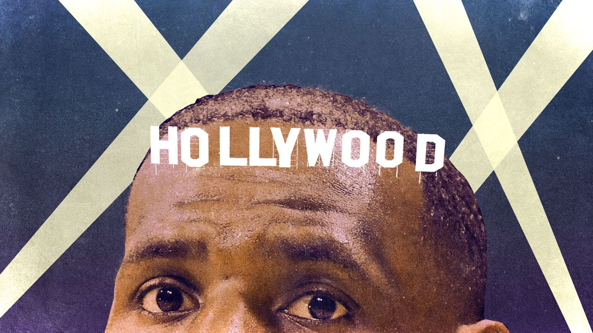 A photo illustration of the Hollywood sign on LeBron James's forehead