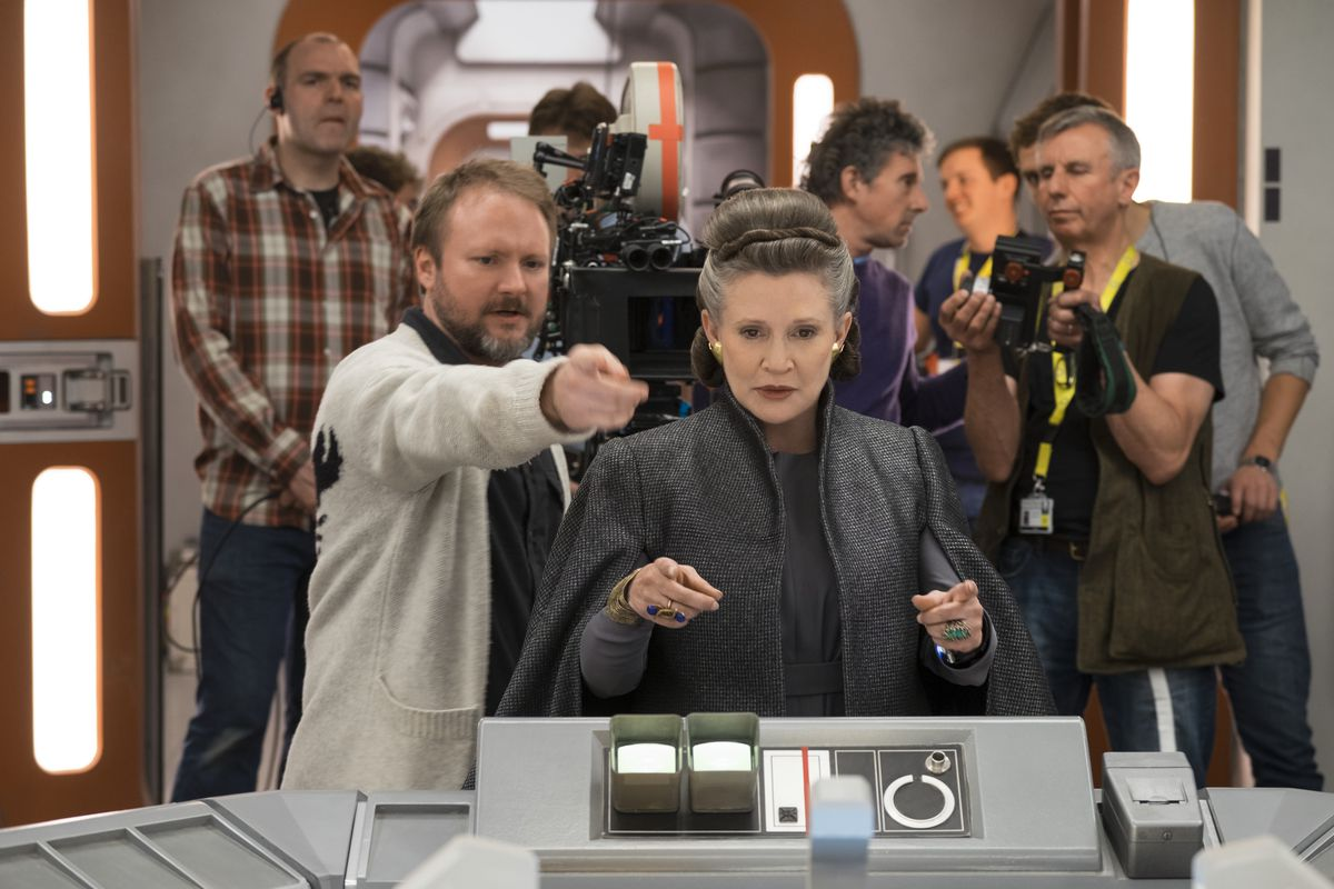 Carrie Fisher (Leia) being directed by Rian Johnson on the set of Star Wars: The Last Jedi