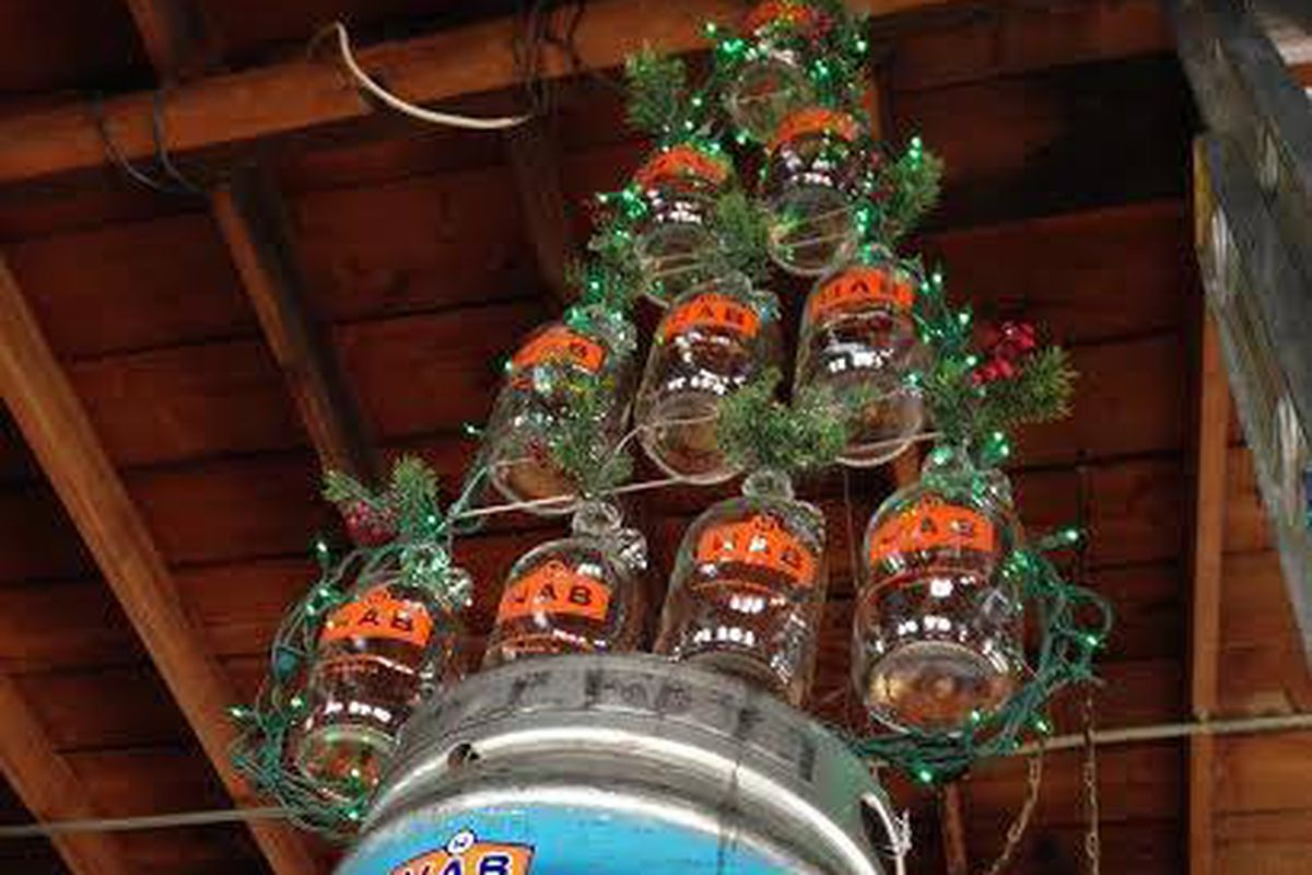 beer themed christmas tree replaces flood damaged decorations at wab