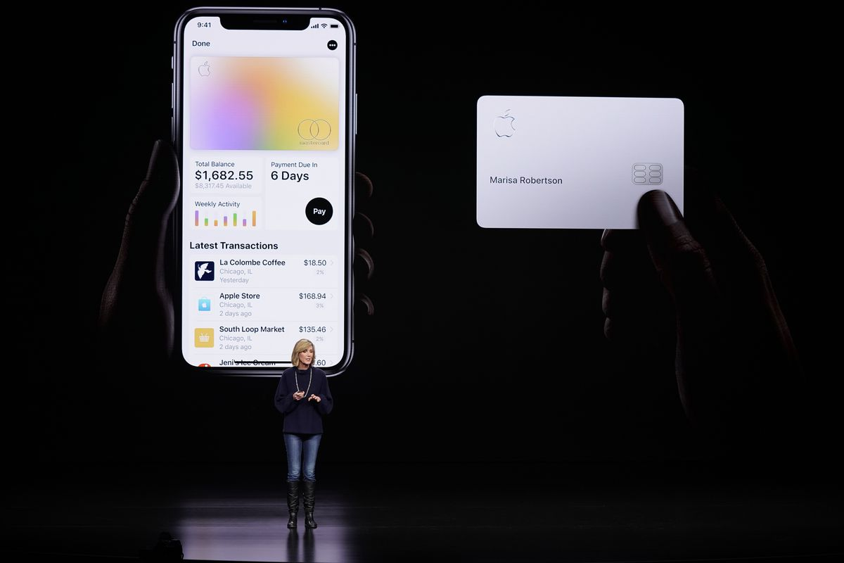 In this Monday, March 25, 2019, file photo, Jennifer Bailey, vice president of Apple Pay, speaks about the Apple Card at the Steve Jobs Theater during an event to announce new products in Cupertino, Calif. Apple is hoping a credit card will entice more iP