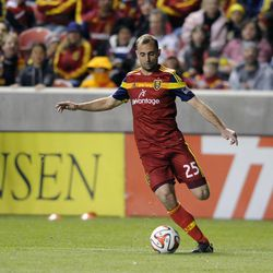 Real Salt Lake defender Rich Balchan (25) moves the ball during a game at Rio Tinto Stadium in Sandy on Saturday, March 29, 2014.