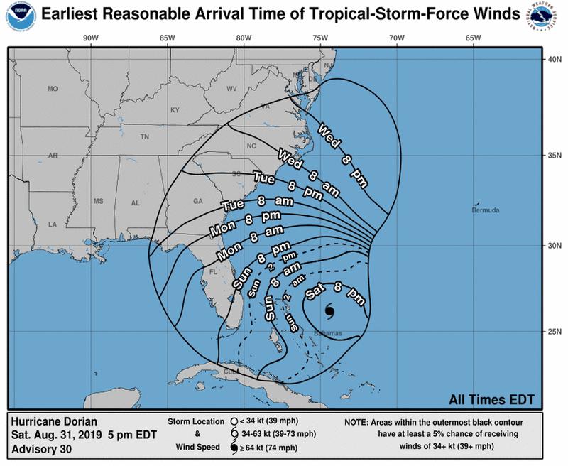 205408_earliest_reasonable_toa_no_wsp_34 Hurricane Dorian is a dangerous Category 4 hurricane — and heading toward the Bahamas and Southeast US