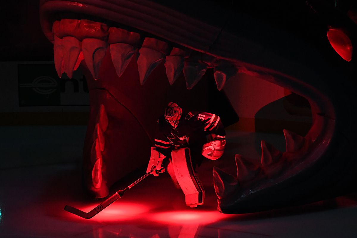 Martin Jones of the San Jose Sharks takes the ice against the St. Louis Blues prior to Game 5 of the Western Conference Final during the 2019 NHL Stanley Cup Playoffs at SAP Center on May 19, 2019 in San Jose, California.