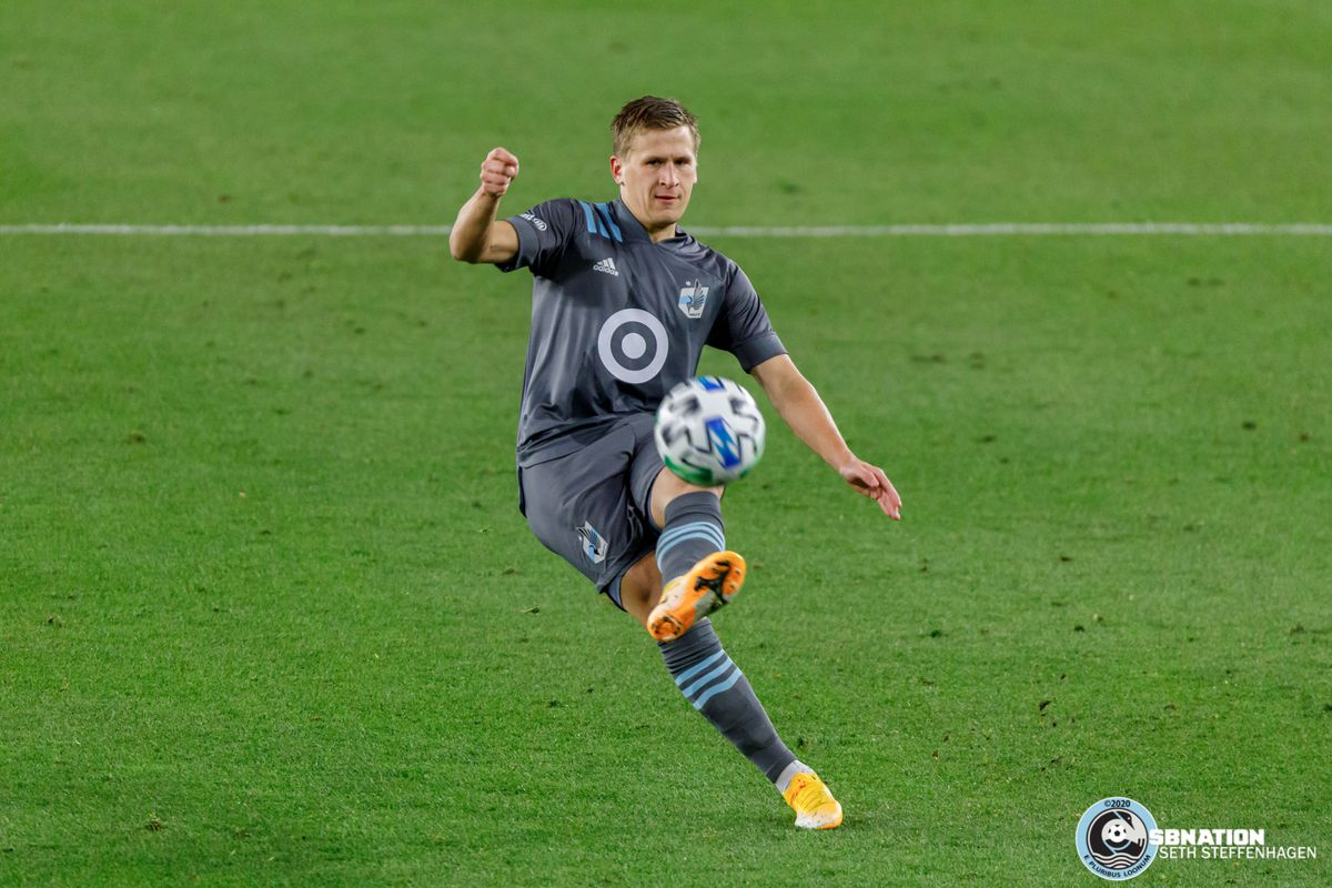 October 18, 2020 - Saint Paul, Minnesota, United States - Minnesota United midfielder Robin Lod (17) passes the ball during the match at Allianz Field.