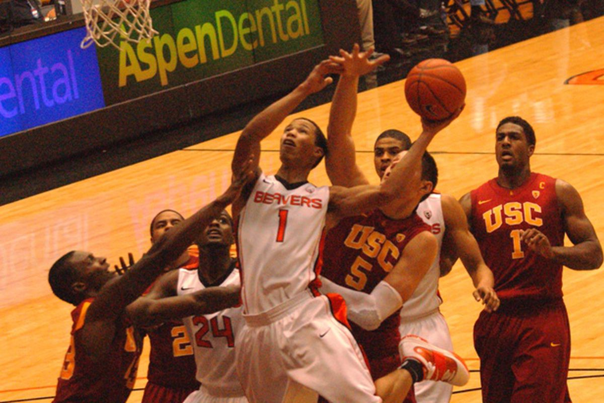 Jared Cunningham (1) had a career high 24 points in the season's first meeting between Oregon St. and USC, an 80-76 win for the Beavers over the Trojans.  <em>(Photo by Andy Wooldridge)</em>