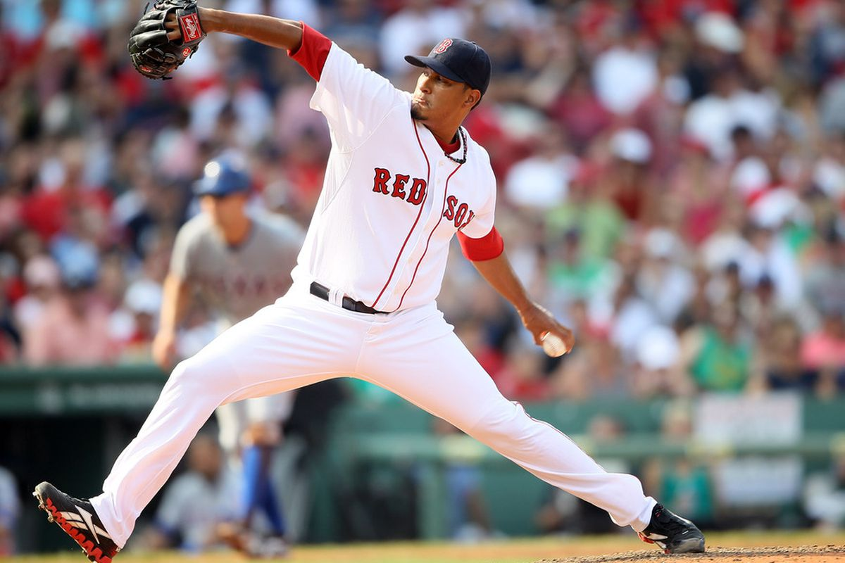 BOSTON, MA - SEPTEMBER 04:  Felix Doubront #61 of the Boston Red Sox delivers a pitch in the sixth inning against the Texas Rangers on September 4, 2011 at Fenway Park in Boston, Massachusetts.  (Photo by Elsa/Getty Images)