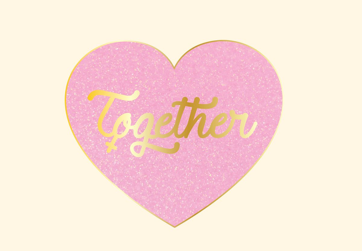 A heart-shaped together pin