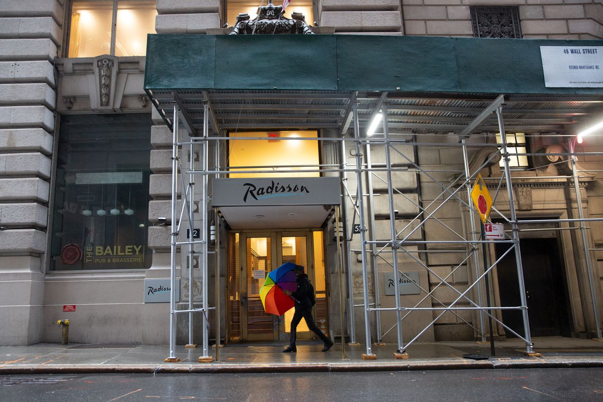 A Radisson Hotel near Wall Street is being used as a homeless shelter during the coronavirus outbreak, Oct. 12, 2020.