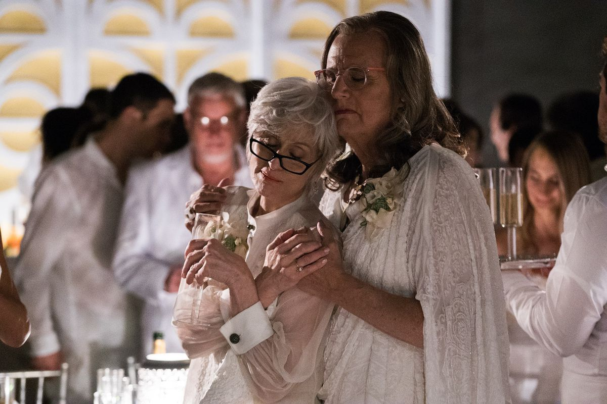 Shelly (Judith Light, left) and Maura (Jeffrey Tambor) celebrate the wedding of their oldest daughter on Transparent.