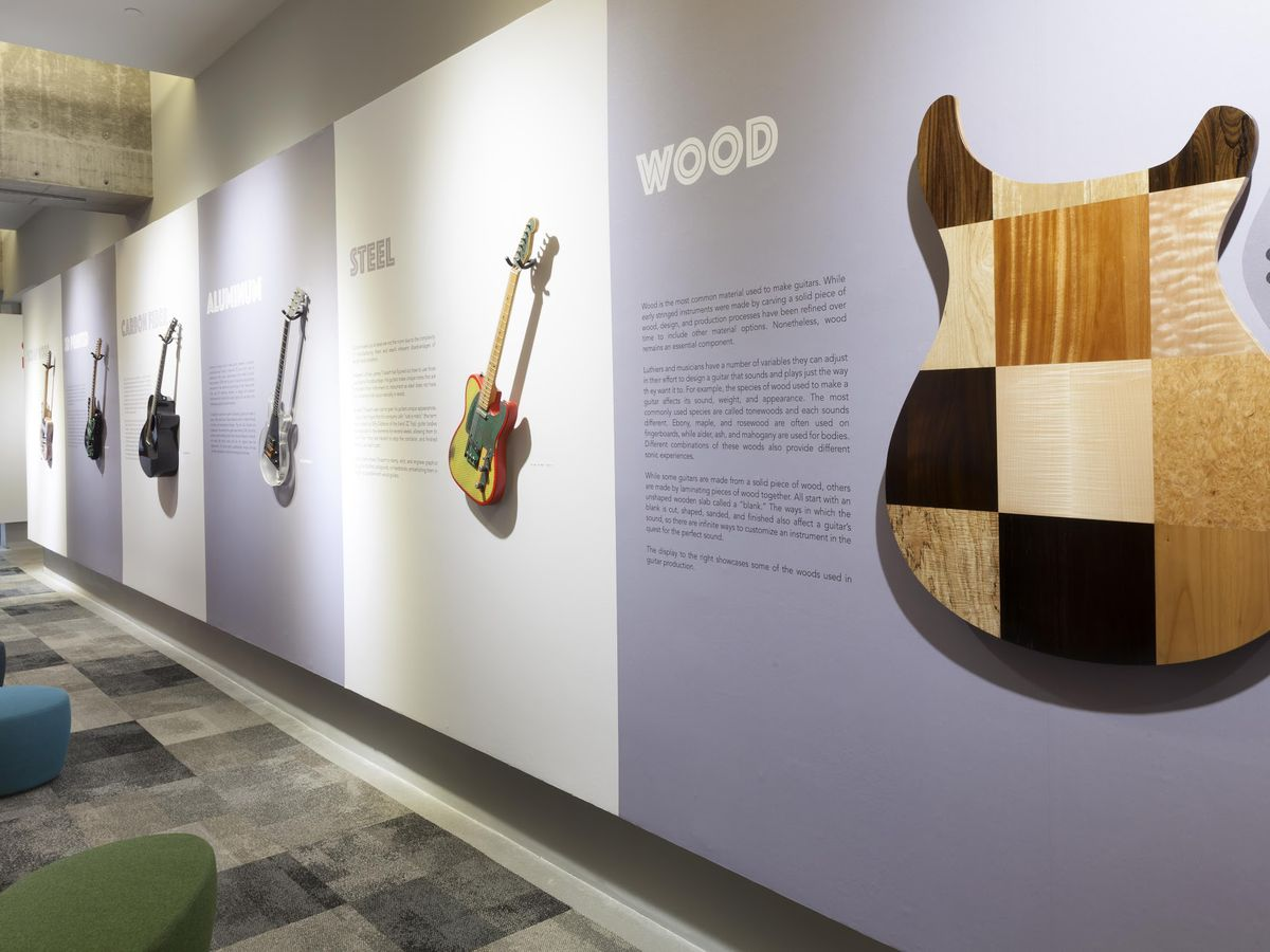 An art display showing the different materials used to make guitars.