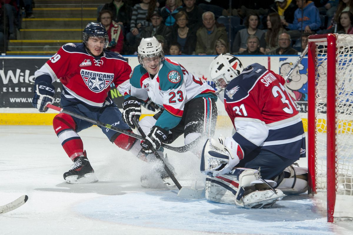 Justin Kirkland (23) with the Kelowna Rockets during during a 2014 against the Tri-City Americans. (Photo by Ma