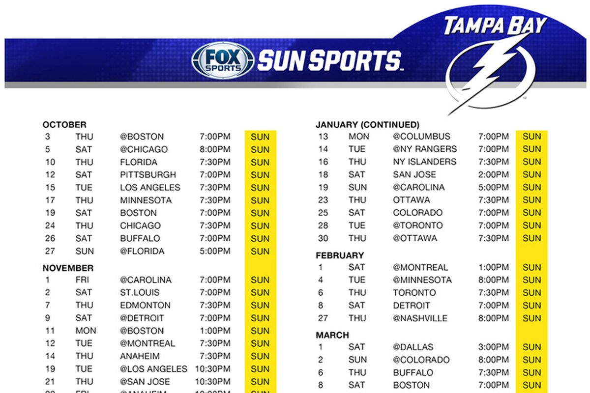 Tampa Bay Lightning Broadcast Schedule All 82 Games To Air On TV Raw Charge