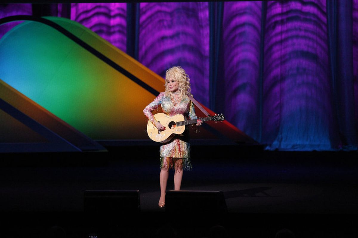 Dolly Parton performs at the NBC upfront presentation. Later, network president Bob Greenblatt would join her on piano.