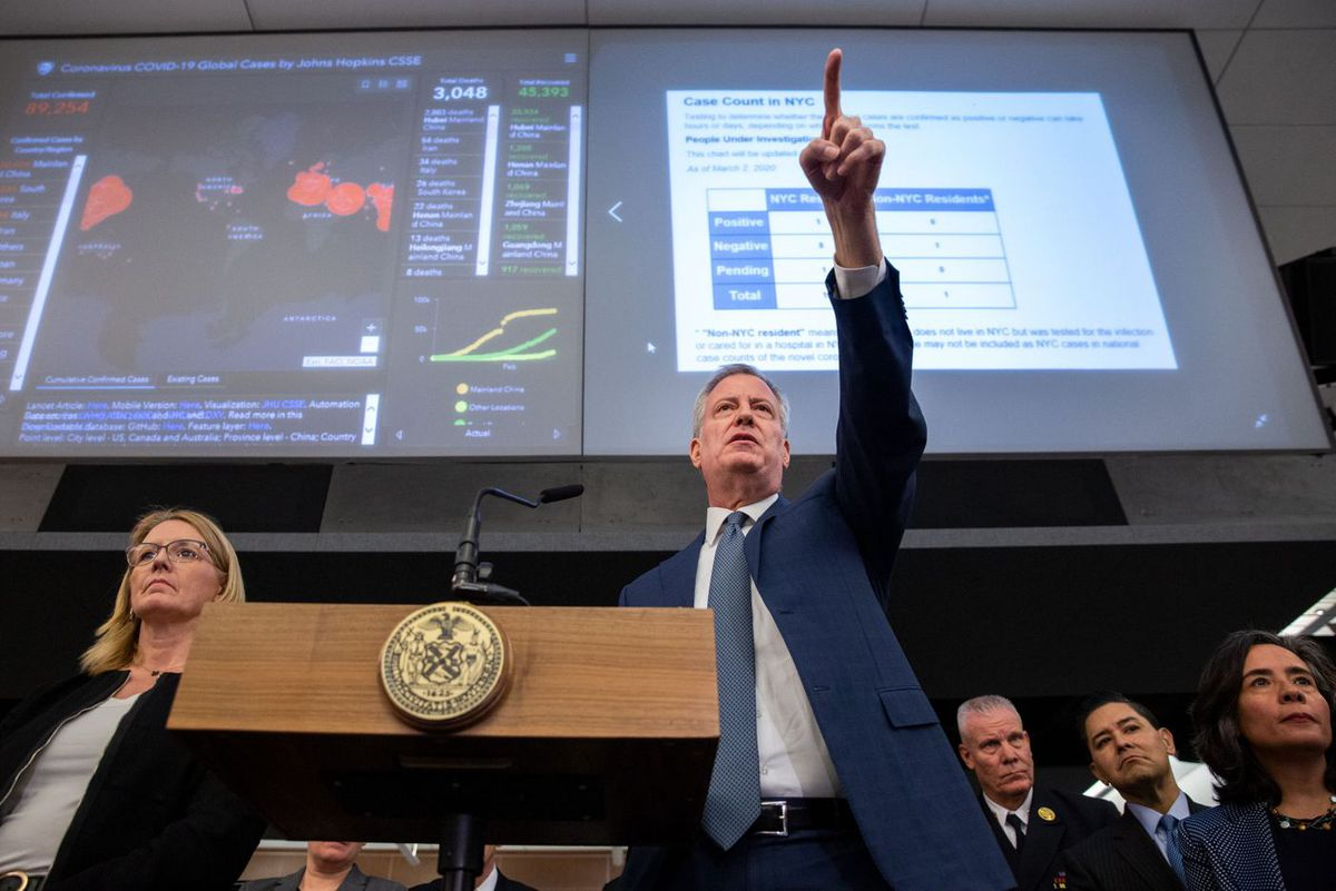 Mayor Bill de Blasio speaks at the Office of Emergency Management in Downtown Brooklyn about the city's response to the Coronavirus.