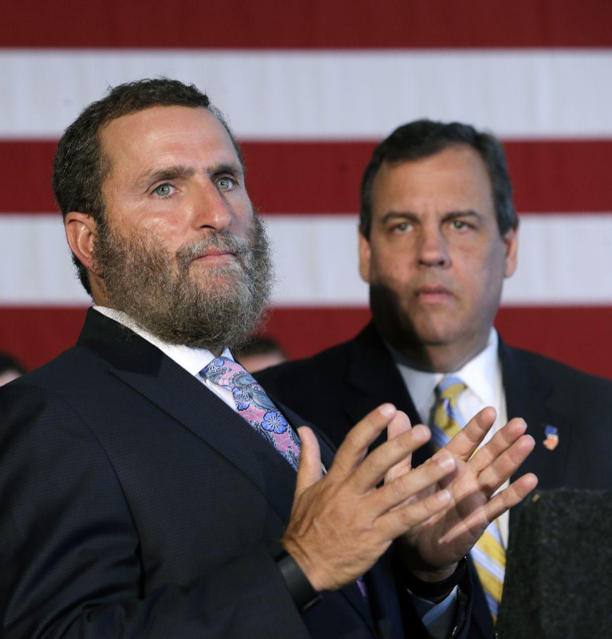 Chris Christie and Rabbi Shmuley Boteach speak at Rutgers University in New Brunswick, N.J.