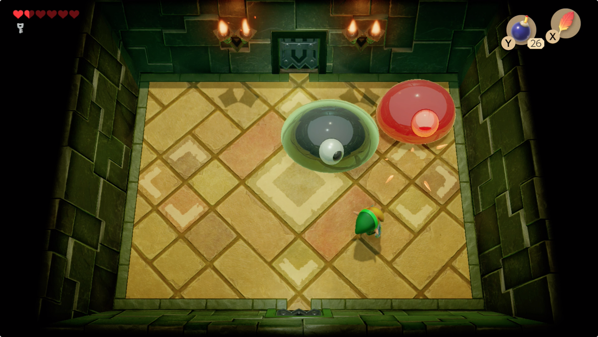 Link's Awakening Key Cavern attack each of the two blobs to defeat the Slime Eyes boss fight