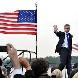 Former Utah Gov. Jon Huntsman Jr. takes the stage Tuesday at Liberty State Park just before he announces that he will run for the U.S. presidency.