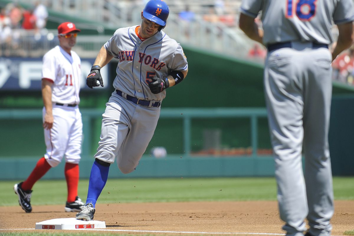 Jul 19, 2012; Washington, DC, USA; New York Mets third baseman David Wright (5) rounds the bases after hitting home run against the Washington Nationals during the first inning at Nationals Park. Mandatory Credit: Brad Mills-US PRESSWIRE